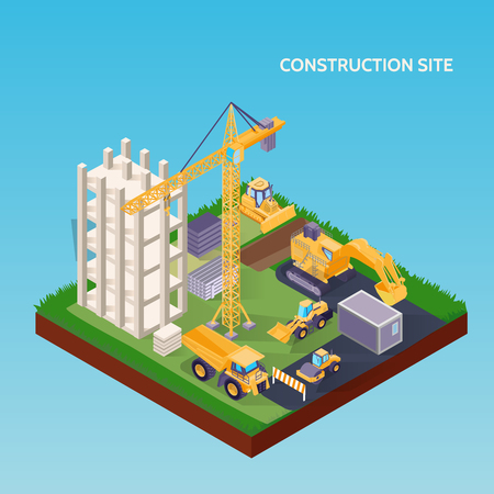 Isometrisches Konzept der Baustelle mit Hausfundament-Kranbagger Bulldozer und Materialien auf 3D-Vektorillustration des blauen Hintergrunds Vektorgrafik