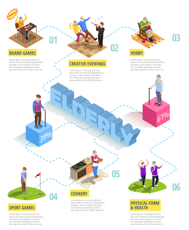 Isometric infographics on white background with information about activities of elderly persons men and women vector illustration