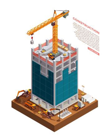 Matériel de construction sur chantier de gratte-ciel à partir d'illustration vectorielle de composition isométrique de béton et de verre