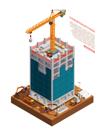 Construction equipment on building site of sky scraper from concrete and glass isometric composition vector illustration Illustration
