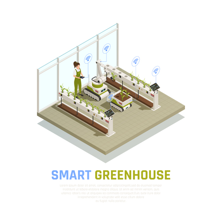 Agriculture automation smart farming composition with indoor view of modern hothouse with robotic drones and personnel vector illustration