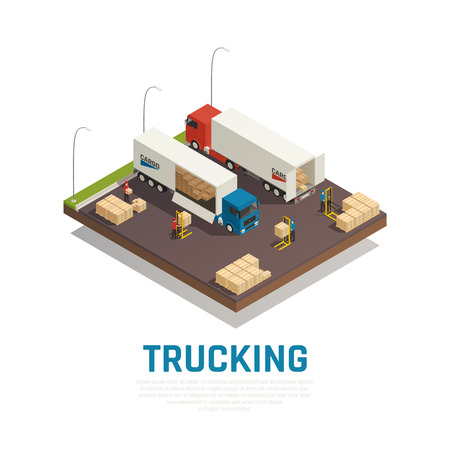 Trucking isometric composition with cargo loading and shipment to heavy vehicles vector illustration