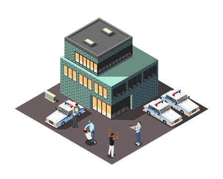 Scene of offenders detention near police station building with officers and criminal persons isometric vector illustration