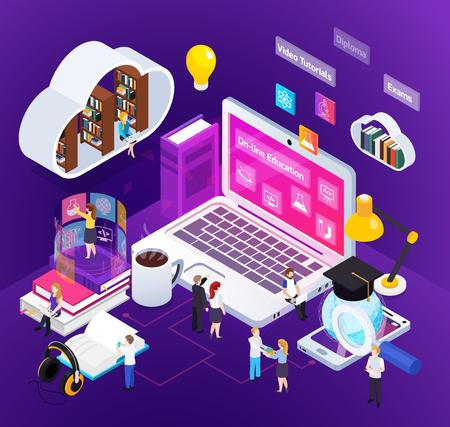 Composizione isometrica di bagliore luminoso di istruzione a distanza di e-learning con lo studio dell'illustrazione di vettore dell'ambiente virtuale di laurea della gente di casa