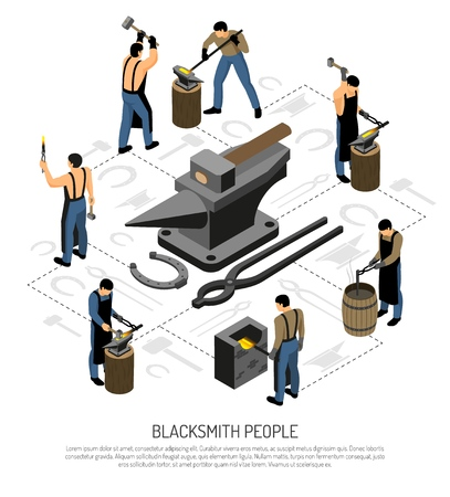 Blacksmith in apron with professional tools and equipment during work set of isometric icons vector illustration Çizim