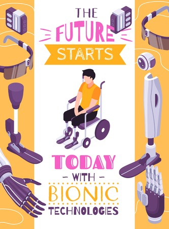 Bionic prosthesis concept isometric composition poster with robotic limbs for specific activities brain controlled eye vector illustration  イラスト・ベクター素材