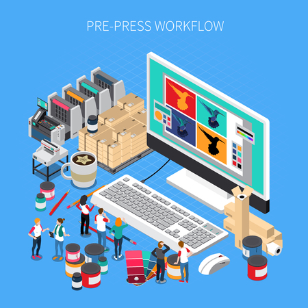 Printing house isometric composition with digital prepress workflow technology software design on desktop computer monitor vector illustration