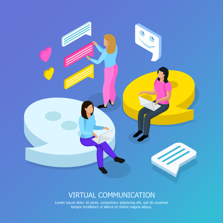 Virtual communication isometric background composition poster with electronic text heart and emoji symbols messaging people vector illustration