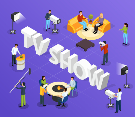 Isometric quiz tv show composition with cumbersome text and human characters of television workers and guests vector illustration