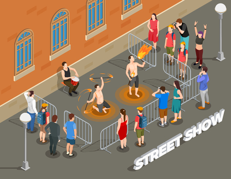 Street performance isometric composition with fire show under rhythm of drum and viewers vector illustration