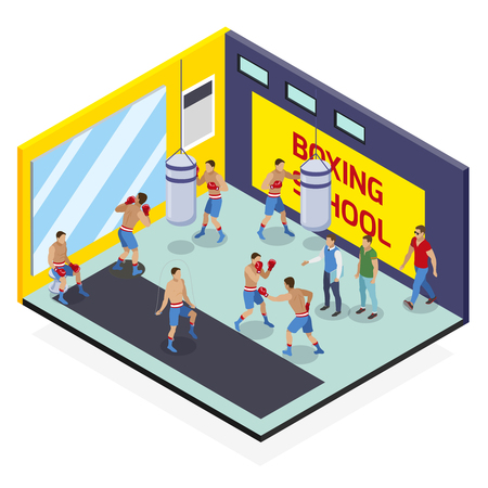 Box isometric composition with view of boxing school exercise room with human characters and punching bags vector illustration
