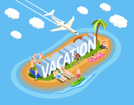 People on island during beach vacation isometric composition on blue background with plane in sky vector illustration