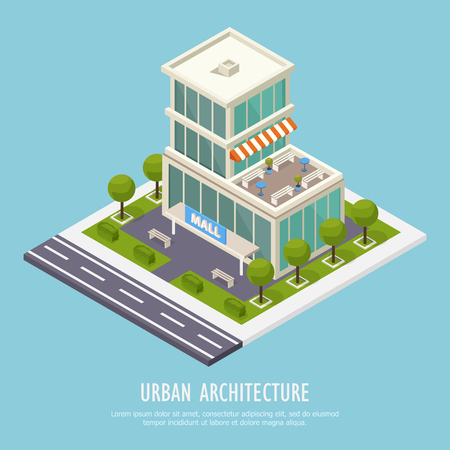 Urban architecture isometric background poster with public shopping center large spacious moderns mall building area vector illustration Illustration