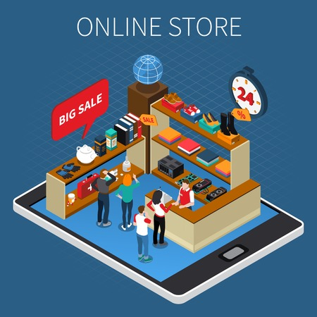 Mobile shopping e-commerce isometric composition with online store big sale event on tablet screen vector illustration