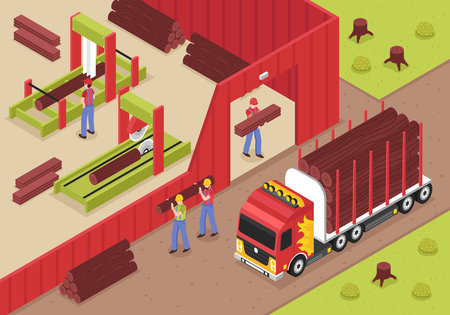 Sawmill isometric background with male workers unloading logs from truck for cutting and woodworking vector illustration Illustration