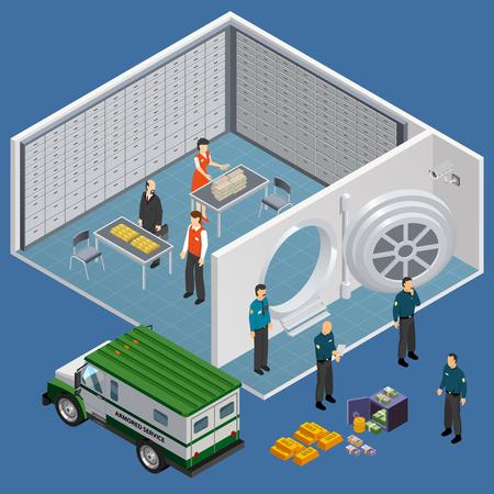 Bank isometric composition with view of safety deposit box room and cash delivery vehicle with officials vector illustration