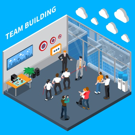 Business executive coaching isometric composition with high trust team building practical exercises in workplace training   vector illustration