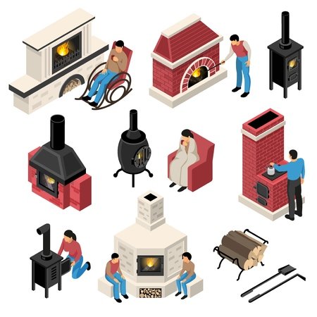 Set of isometric fire places and furnaces of various design with human characters isolated vector illustration