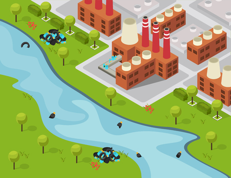 Drastic plastic isometric composition with outdoor landscape and factory building emptying waste to the river vector illustration Ilustração