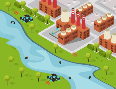 Drastische isometrische Plastikzusammensetzung mit Außenlandschaft und Fabrikgebäude, die Abfälle in die Flussvektorillustration entleert