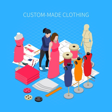 Custom made clothing isometric concept with dress symbols vector illustration Illustration