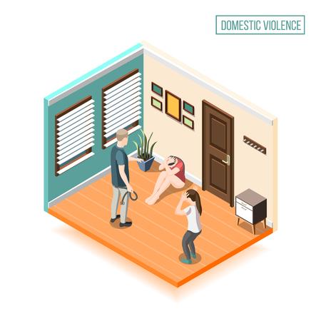 Composición isométrica de violencia doméstica con hombre, niño y mujer cerrados con las manos para la ilustración de vector de autodefensa