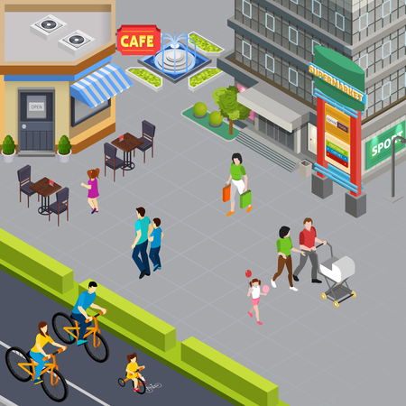Family with pram and little daughter walking past cafe in city center pedestrian street isometric vector illustration Illustration
