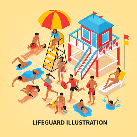 Beach lifeguards isometric vector illustration with female lifeguard watching through binoculars from lookout tower and savers performing artificial respiration 일러스트