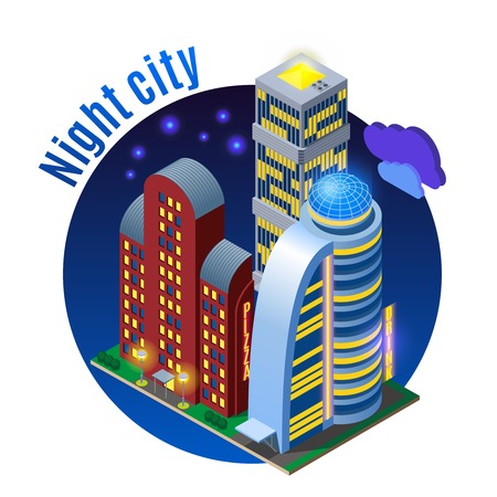 Luminous sky scrapers with modern architecture at night isometric round composition on dark background vector illustration 向量圖像