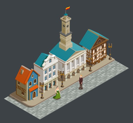 Medieval urban architecture isometric composition with wealthy people private buildings in residential area city street vector illustration Vectores