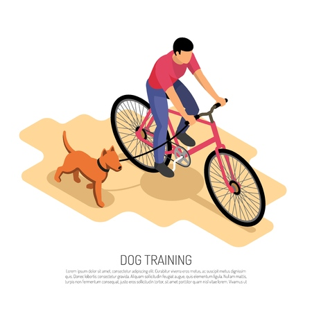 Cynologist endurance training isometric composition with bike riding with running dog aerobic exercise educational poster vector illustration Ilustração