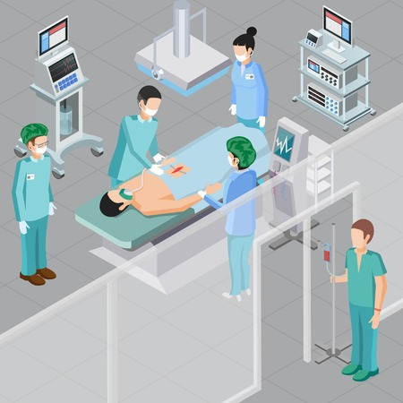 Medical equipment isometric composition with human characters of doctors in surgery room with operating room equipment vector illustration Illustration