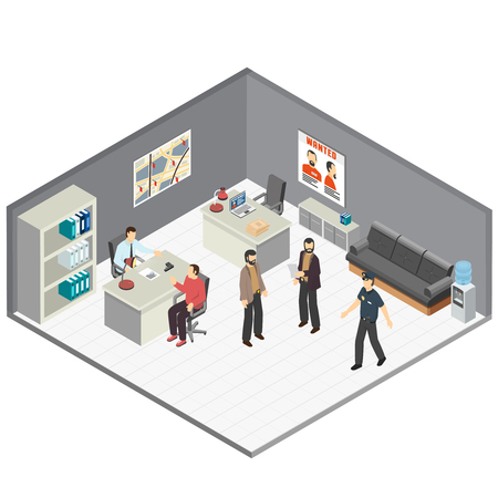Law justice detectives office isometric composition with crime case investigators  interview witness reconstructing incident details vector illustration Illustration