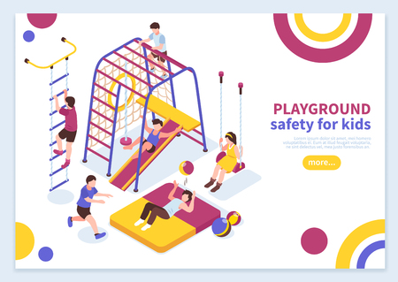 Children sport complex concept banner background composition with kids playground editable text and read more button vector illustration