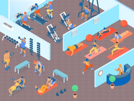 People at big gym with areas for cardio weight trainings and fitness classes 3d horizontal isometric vector illustration