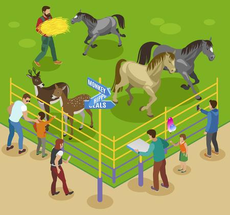 Contact composition isométrique du zoo avec des chevaux, des cerfs et des travailleurs du zoo avec des barrières et des personnages invités illustration vectorielle Vecteurs