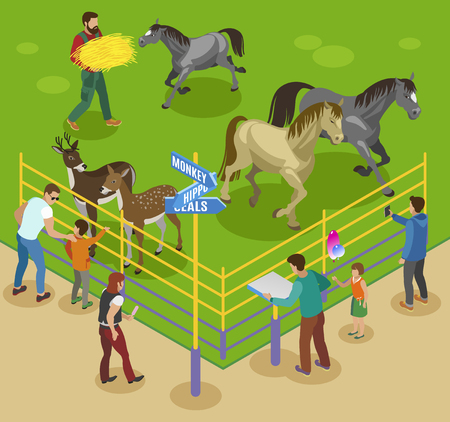 Contact zoo isometric composition with horses deers and zoo workers with barriers and guest people characters vector illustration