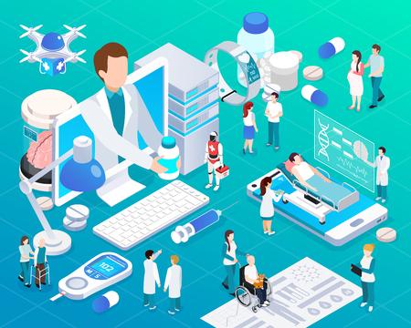 El servicio de salud de telemedicina de dispositivos móviles resplandece la composición isométrica con la ilustración de vector de entrega de drones de prescripción de medicina de médico virtual