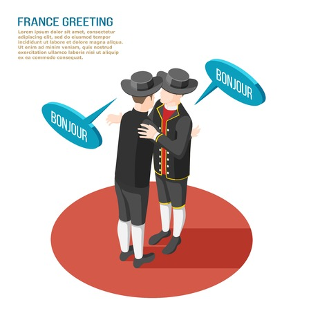 Isometric composition with two french people in national costumes greeting each other 3d vector illustration Ilustração