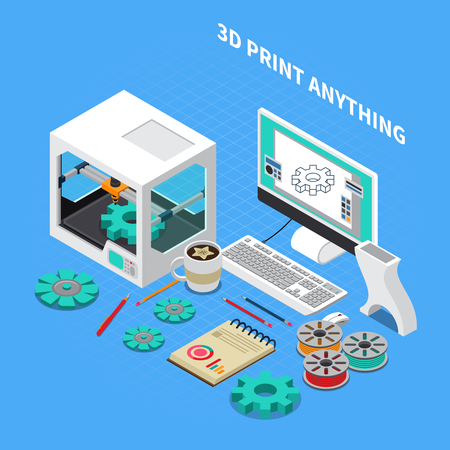 Printing industry isometric composition with images of three dimensional printer with computer and software with text vector illustration