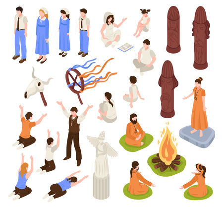 Isometric religious cult set with isolated human characters of prayers and prophets with ceremony items vector illustration