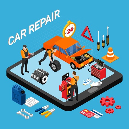 Car repair isometric concept with spare parts and tools symbols vector illustration Illustration