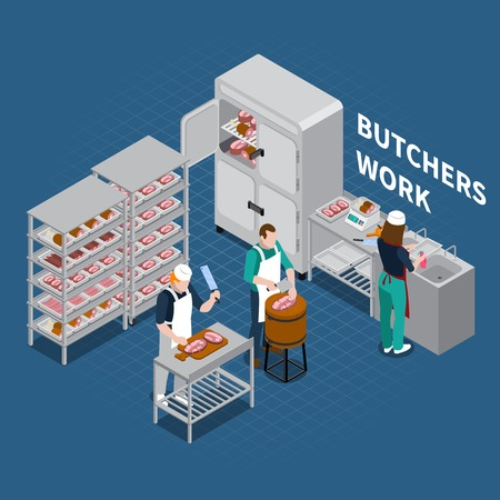 Butchery sausage shop isometric composition of editable text and human characters with slaughterman and meat man vector illustration Ilustração