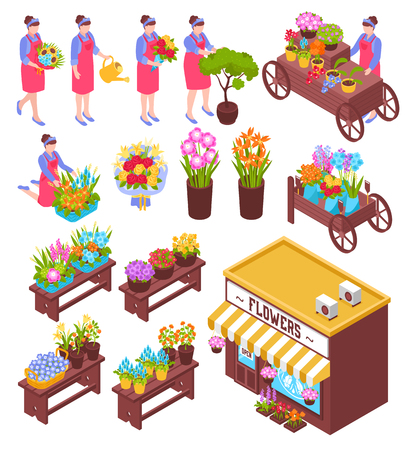 Isometric florist shop set of isolated pots and bouquets of flowers with human characters of sellers vector illustration Illustration