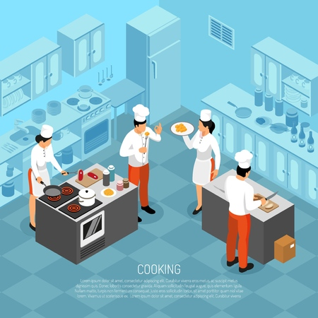 Professional cooks chef kitchen staff butchering meat making saus preparing food for service isometric composition vector illustration Illustration