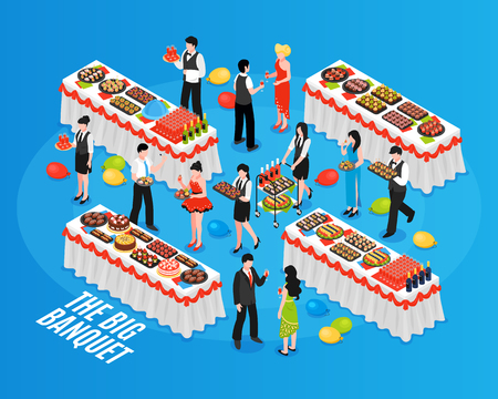 Isometric banquet composition with people in their best turn-outs and tables with lots of food vector illustration