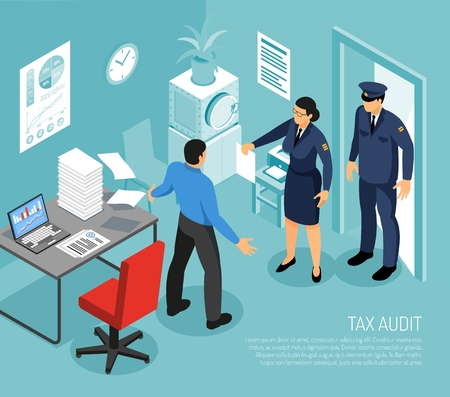 Tax audit in business office with 2 inspectors and failed meeting deadline accountant isometric composition vector illustration Illustration