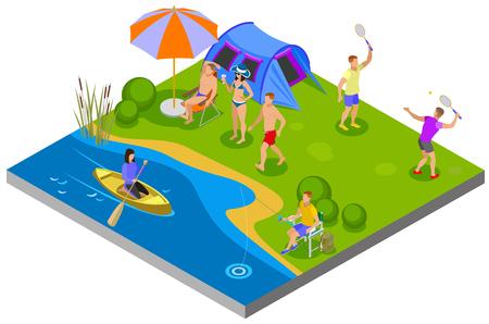 Composizione di attività all'aperto con illustrazione vettoriale isometrica di simboli di campeggio e ricreazione
