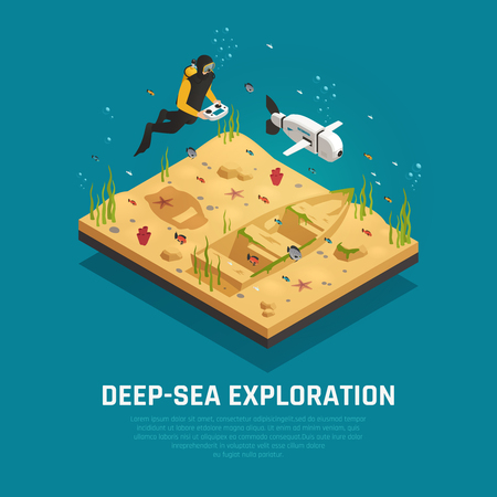 Bio robot fish for deep sea exploration isometric composition diver with automatic underwater device vector illustration Illustration