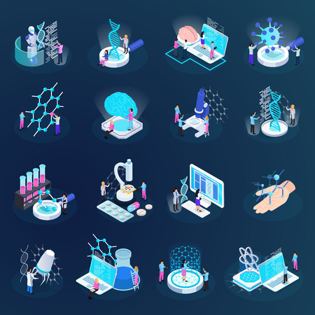 Scientists during nano technology development set of isometric icons isolated on dark gradient background vector illustration
